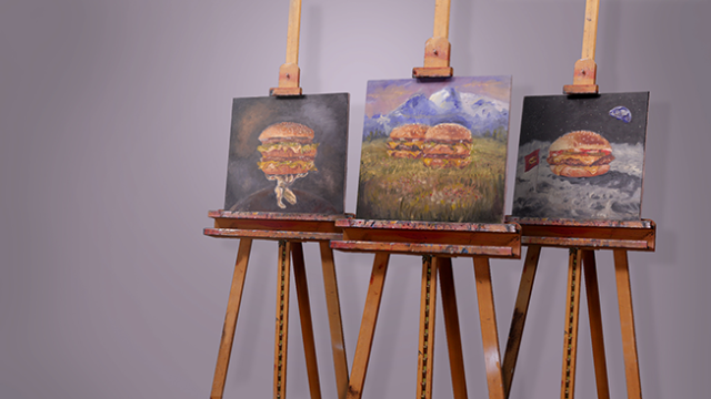 McDonald's celebrated National Hamburger Day with their first Facebook Live stream. The paintings above will be auctioned for their Ronald McDonald House charities. (Source: McDonald's)