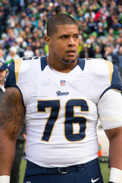 """St. Louis Rams guard Rodger Saffold during a NFL football game on Sunday, Dec. 28, 2014 in Seattle WA. The Seahawks won the game, 20-6. (Photo by Scott Rovak/St. Louis Rams)"""