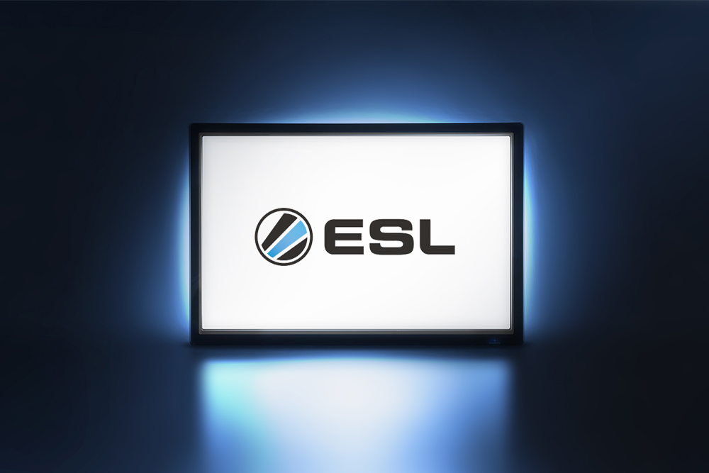 TV displaying ESL logo on screen