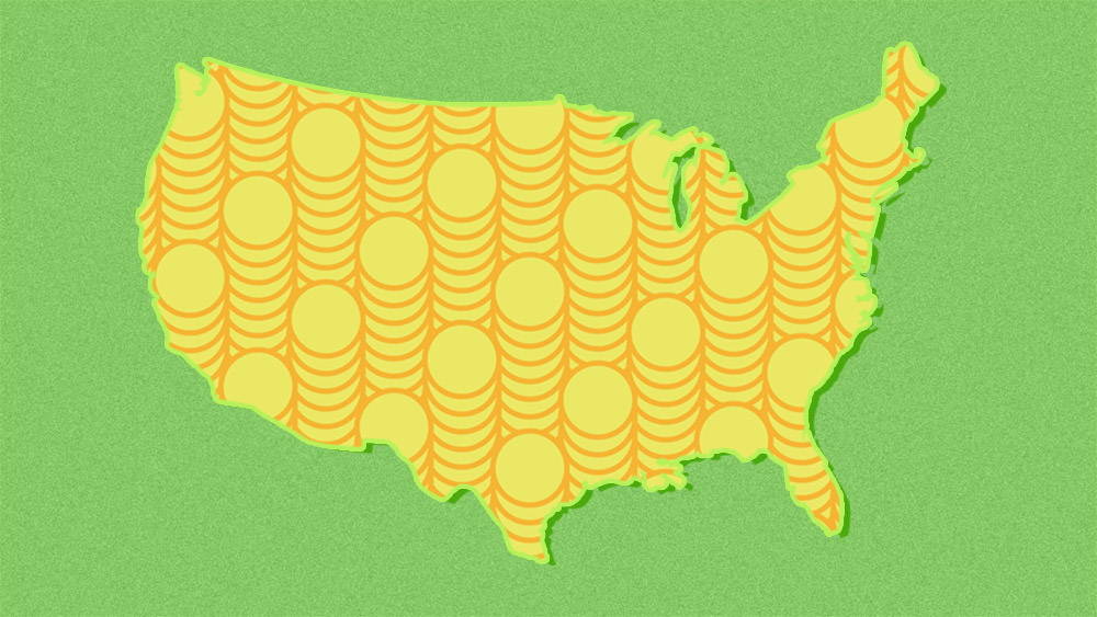 America silhouette made up of coin pattern